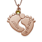 Personalized Baby Feet Necklace - Rose Gold Plated