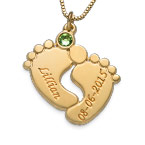 Personalized Baby Feet Necklace with Gold Plating