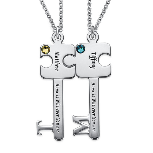 Personalized Puzzle Key Necklace Set