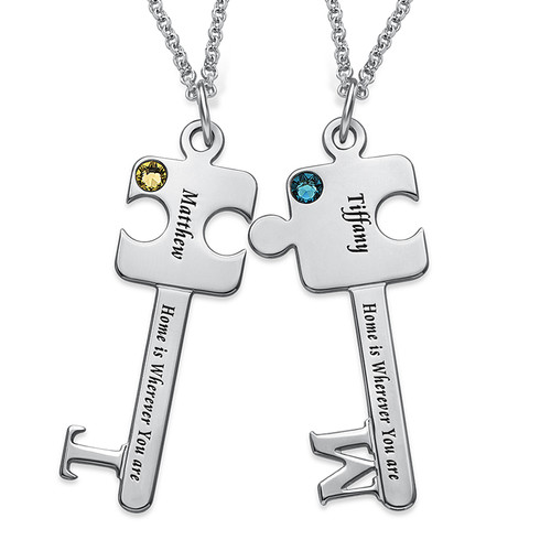 Personalized Puzzle Key Necklace Set - 1