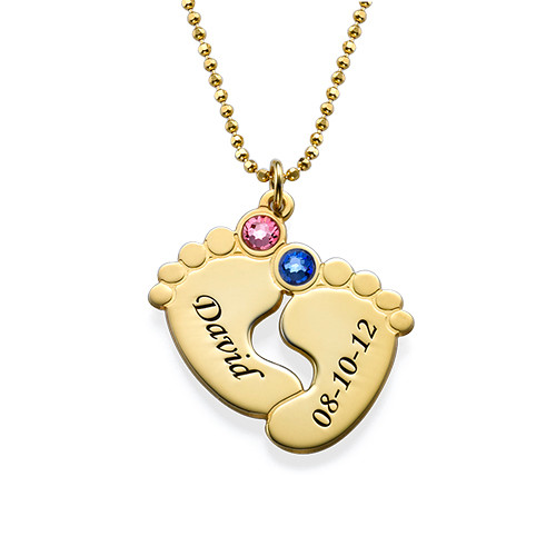 Personalized Baby Feet Necklace in Gold Plating - 1