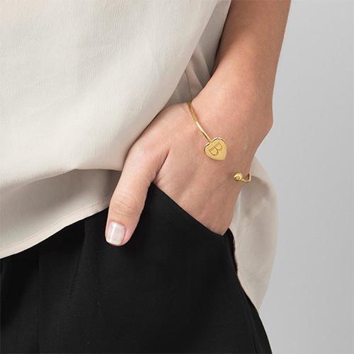 Personalized Bangle Bracelet in Gold Plating - Adjustable - 2