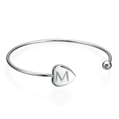 Personalized Bangle Bracelet in Silver - Adjustable