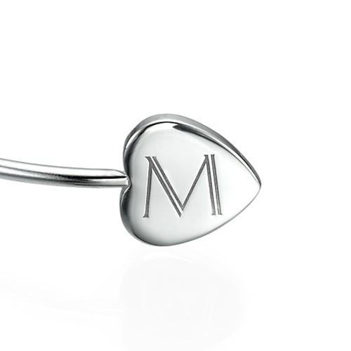 Personalized Bangle Bracelet in Silver - Adjustable - 1