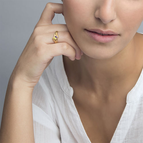 Personalized Birthstone Ring in Gold Plating - 2