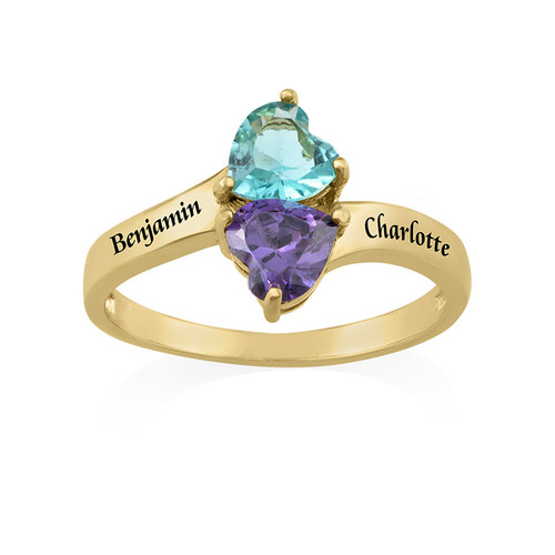 Personalized Birthstone Ring with Gold Plating - 1