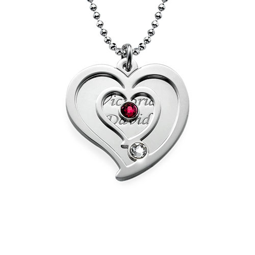 Personalized Couples Birthstone Heart Necklace - 1
