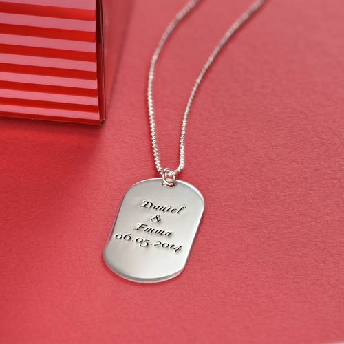 Personalized Dog Tag Necklace in Silver – Script - 3
