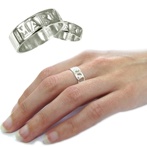 Personalized English Silver Engraved Name Ring - 1