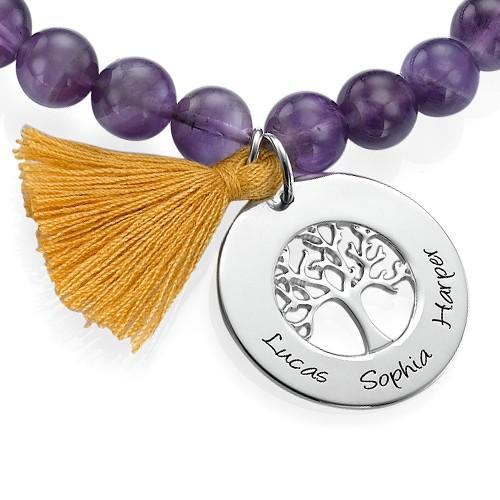 Personalized Family Tree Jewelry - Bead Bracelet with Tassel - 1