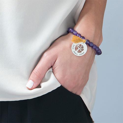 Personalized Family Tree Jewelry - Bead Bracelet with Tassel - 4