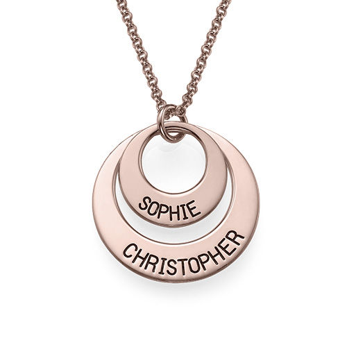 Personalized Jewelry for Moms – Disc Necklace in Rose Gold Plating