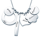 Personalized Multicharm Mothers Necklace in Silver