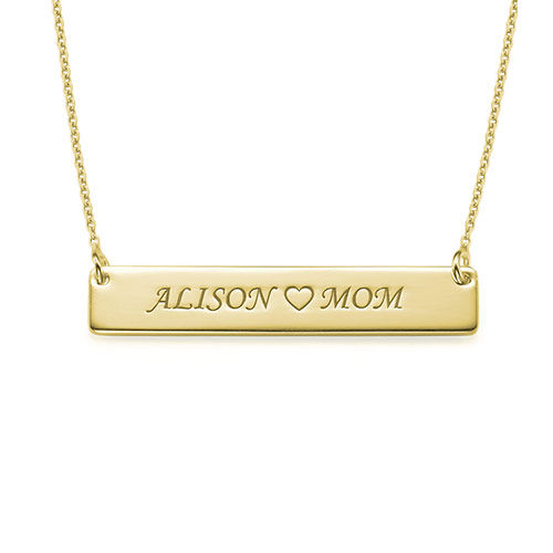 Personalized Nameplate Necklace for Mom in 18k Gold Plating