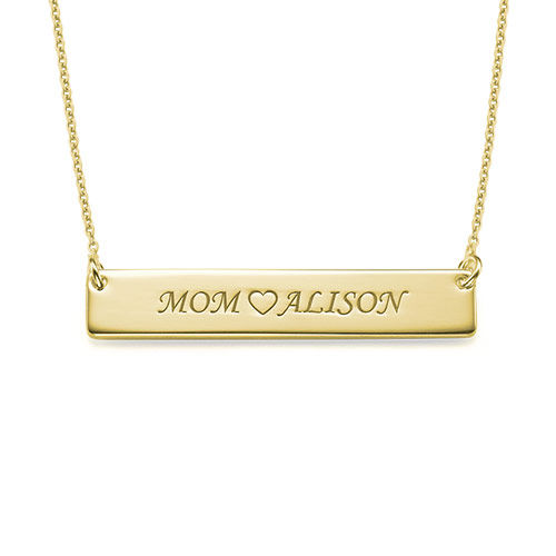 Personalized Nameplate Necklace for Mom in 18k Gold Plating - 1