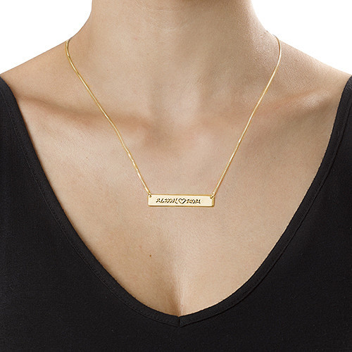 Personalized Nameplate Necklace for Mom in 18k Gold Plating - 2