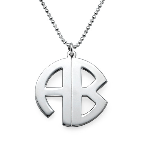 Personalized Sterling Silver Print Style Monogram Necklace - 1