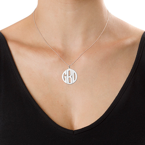 Personalized Sterling Silver Print Style Monogram Necklace - 2