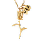 Rose Necklace with Initial charms in Gold Plating