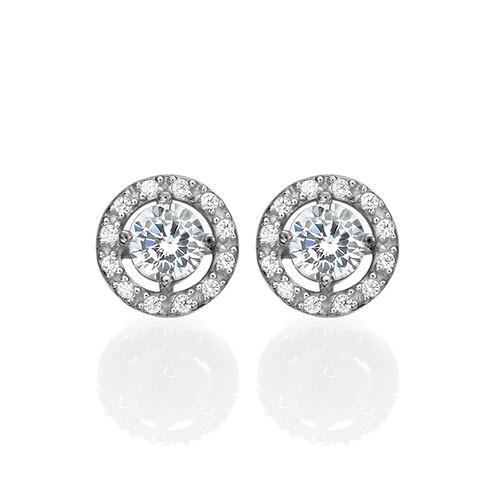 Round Cubic Zirconia Stud Earrings - 1