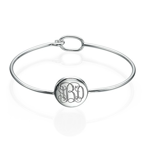 Round Monogram Bangle Bracelet in Silver
