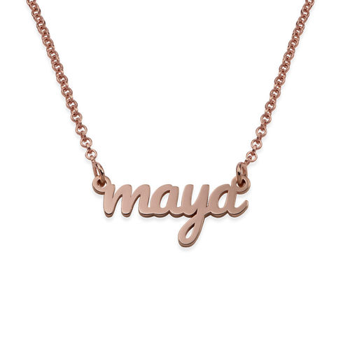 Script Name Necklace with 18K Rose Gold Plating
