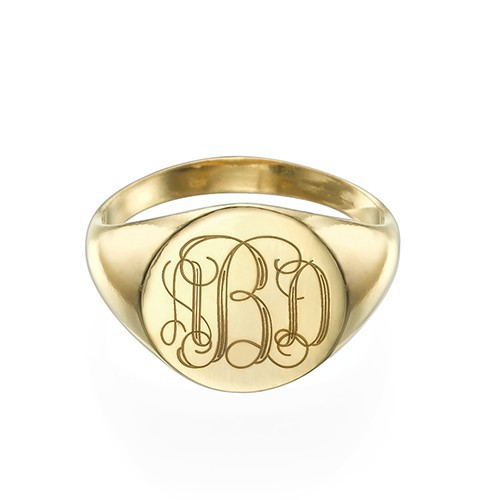 Signet Ring in Gold Plating with Engraved Monogram - 1