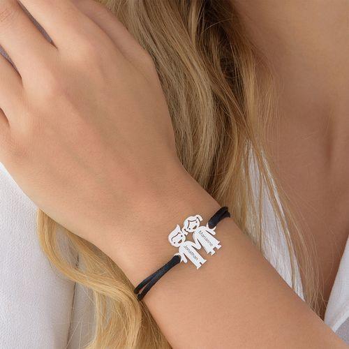 Silver Kids Holding Hands Charms Bracelet - 3