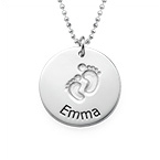 Silver Baby Name Necklace with Footprints