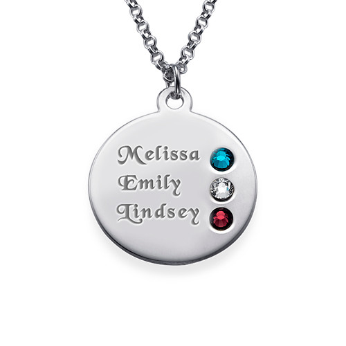 Silver Birthstone Necklace for Mom