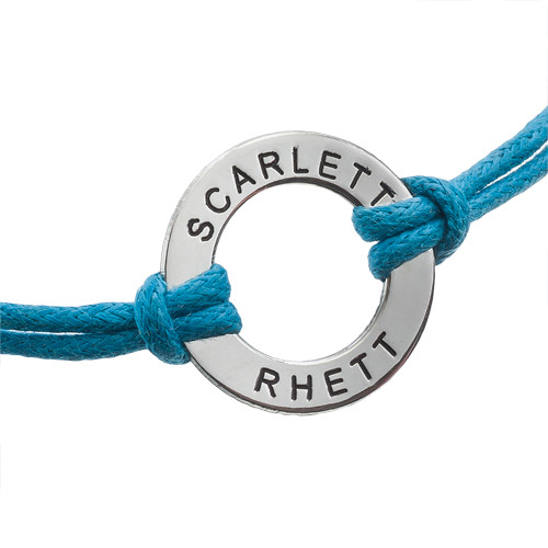 Silver Circle Bracelet with Leather Style Cord