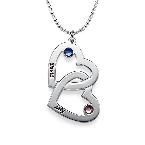 Personalized Silver Heart in Heart Necklace with Birthstones
