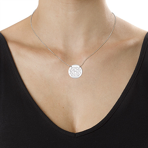Sterling Silver Disc Necklace - Monogram - 1