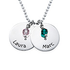 Personalized Disc Necklace With Birthstones