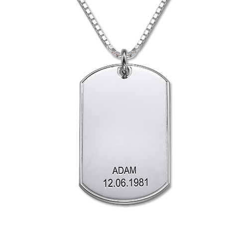 Personalized Silver Dog Tag Necklace