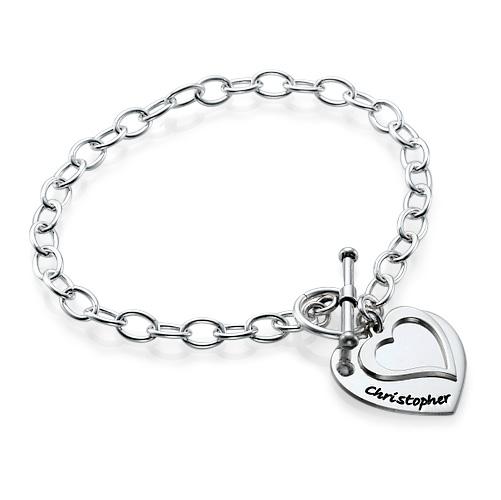 Silver Double Heart Charm Bracelet - 1