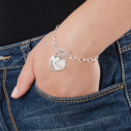 Silver Double Heart Charm Bracelet - 2