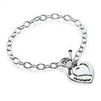 Silver Double Heart Charm Bracelet