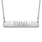 Silver Engraved Bar Necklace