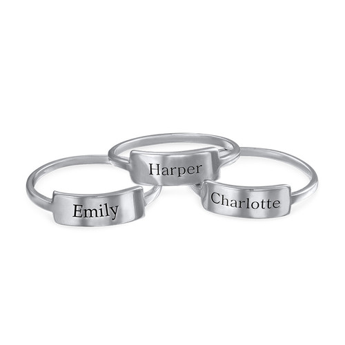 Silver Engraved Nameplate Ring - 1