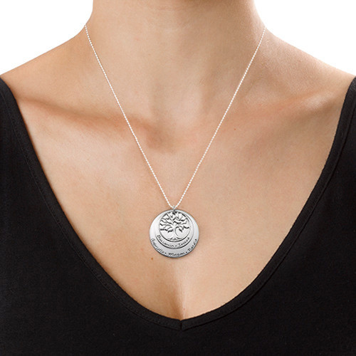 Silver Family Tree Necklace with Layers - 1