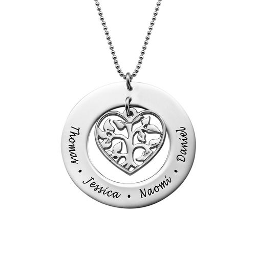Silver Heart Family Tree Necklace