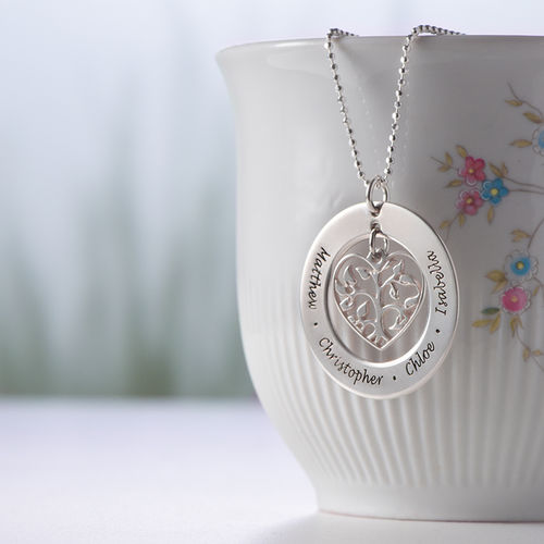 Silver Heart Family Tree Necklace - 3