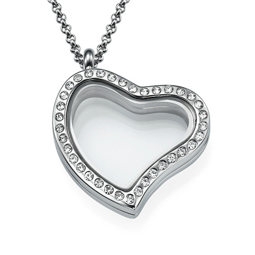 Silver Heart Locket with Crystals
