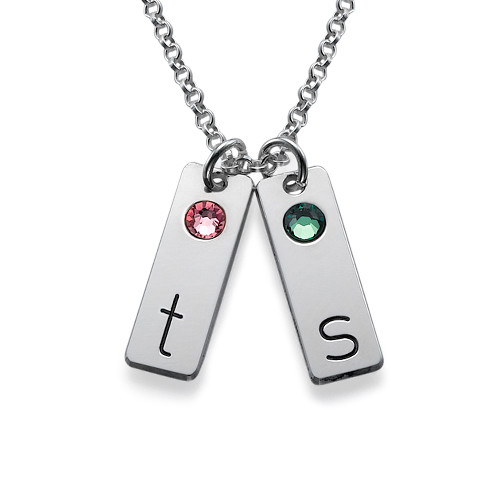 Silver Initial Tag Necklace with Birthstones