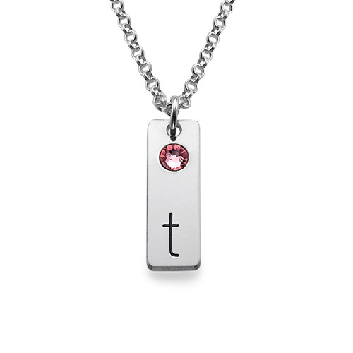 Silver Initial Tag Necklace with Birthstones - 1