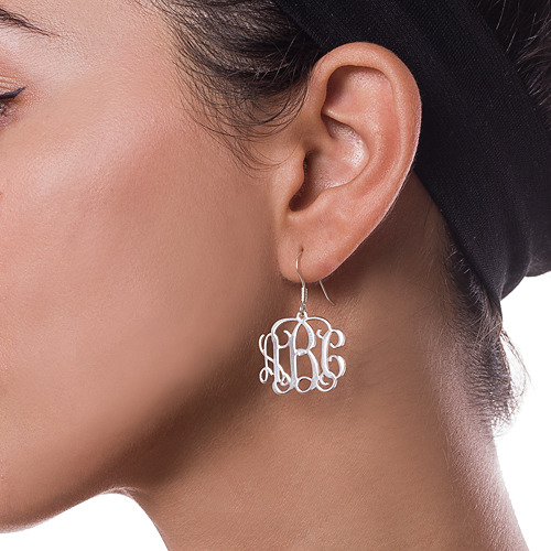 Silver Monogram Earrings 1