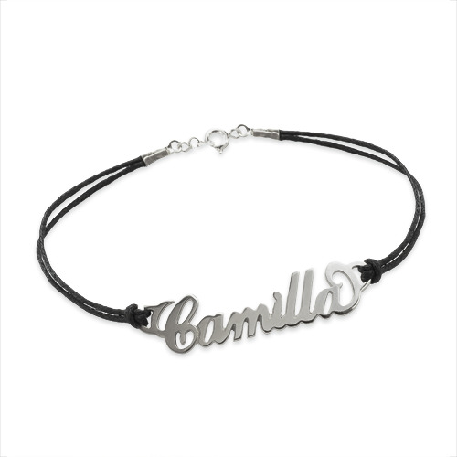Silver Name Bracelet with Leather Style Cord - 1