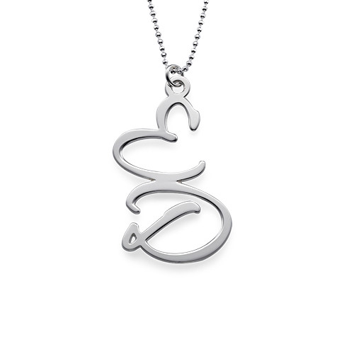 Silver Two Initial Necklace - 1
