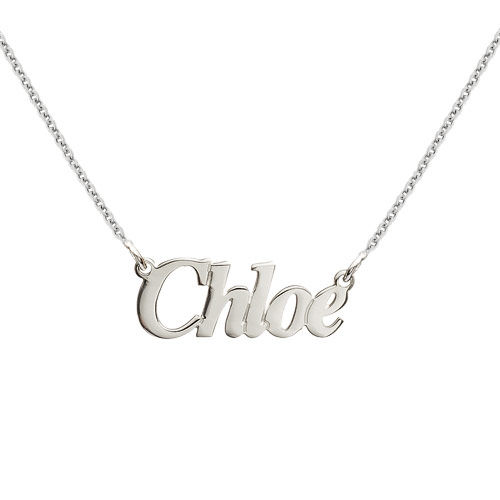 Small Angel Style Silver Name Necklace